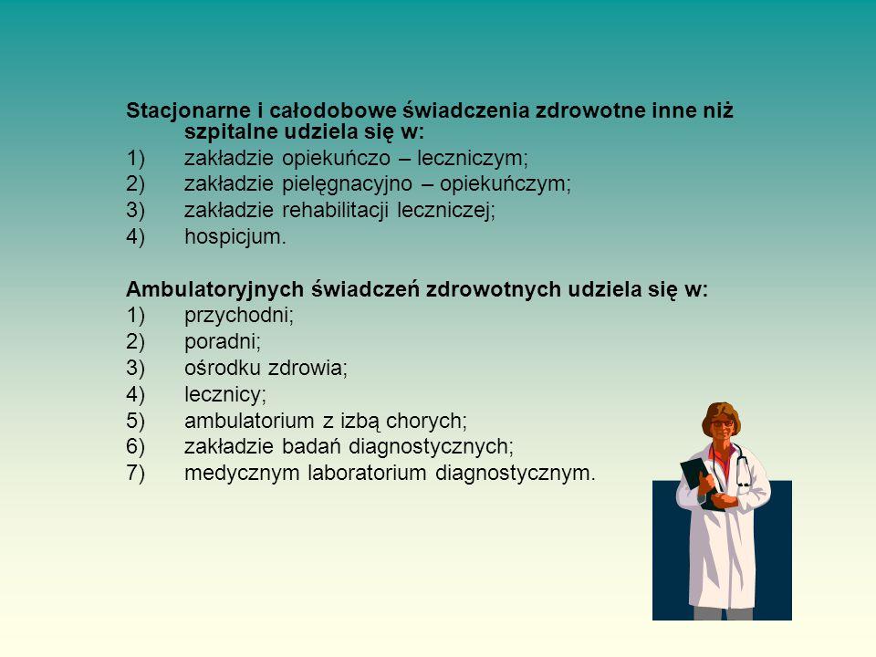Stacjonarne i całodobowe świadczenia zdrowotne inne niż szpitalne udziela się w: