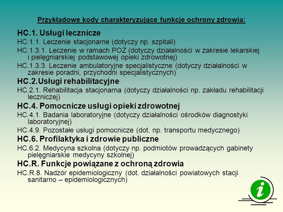 Przykładowe kody charakteryzujące funkcje ochrony zdrowia: