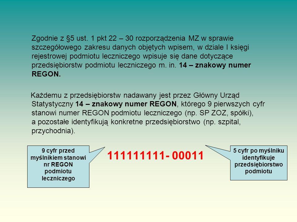 Zgodnie z §5 ust. 1 pkt 22 – 30 rozporządzenia MZ w sprawie szczegółowego zakresu danych objętych wpisem, w dziale I księgi rejestrowej podmiotu leczniczego wpisuje się dane dotyczące przedsiębiorstw podmiotu leczniczego m. in. 14 – znakowy numer REGON.