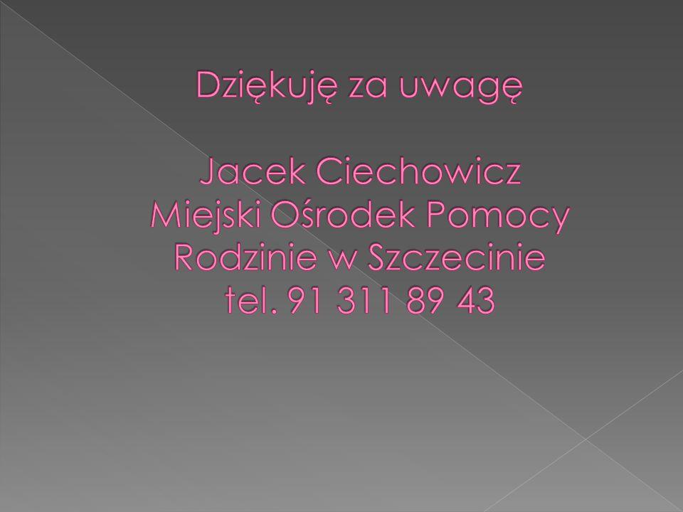 Dziękuję za uwagę Jacek Ciechowicz Miejski Ośrodek Pomocy Rodzinie w Szczecinie tel. 91 311 89 43