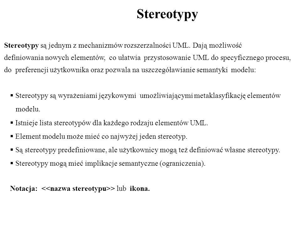 Stereotypy Stereotypy są jednym z mechanizmów rozszerzalności UML. Dają możliwość.