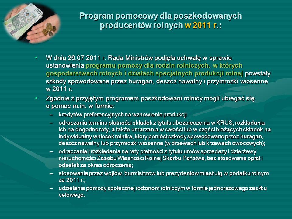 Program pomocowy dla poszkodowanych producentów rolnych w 2011 r.: