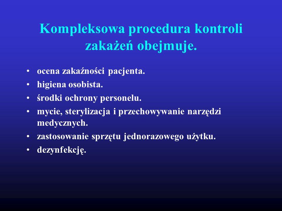 Kompleksowa procedura kontroli zakażeń obejmuje.