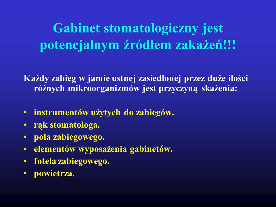 Gabinet stomatologiczny jest potencjalnym źródłem zakażeń!!!