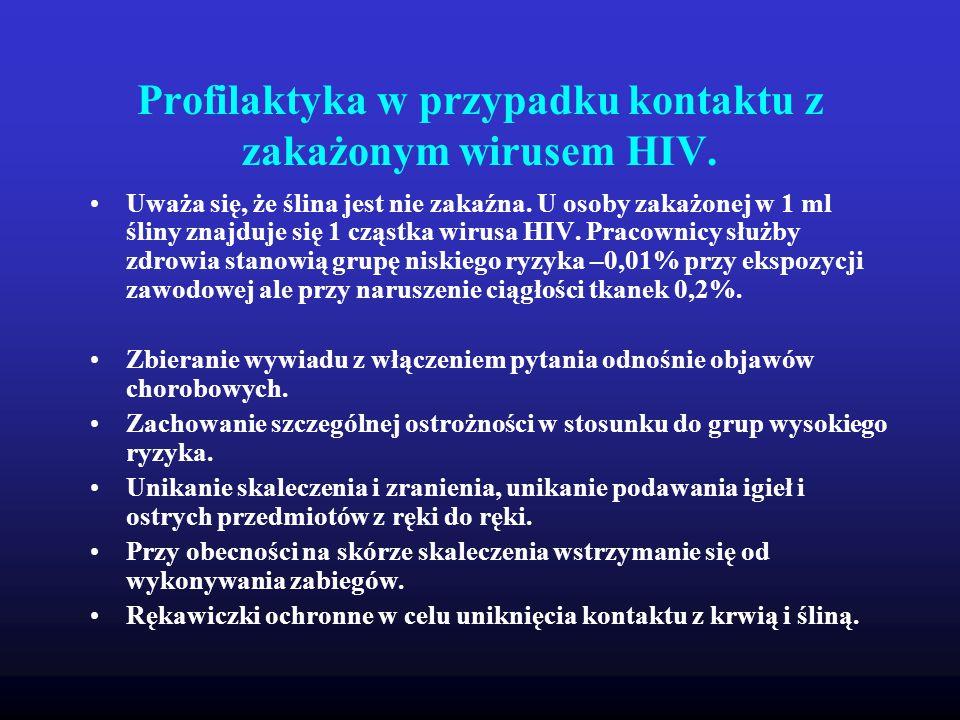 Profilaktyka w przypadku kontaktu z zakażonym wirusem HIV.