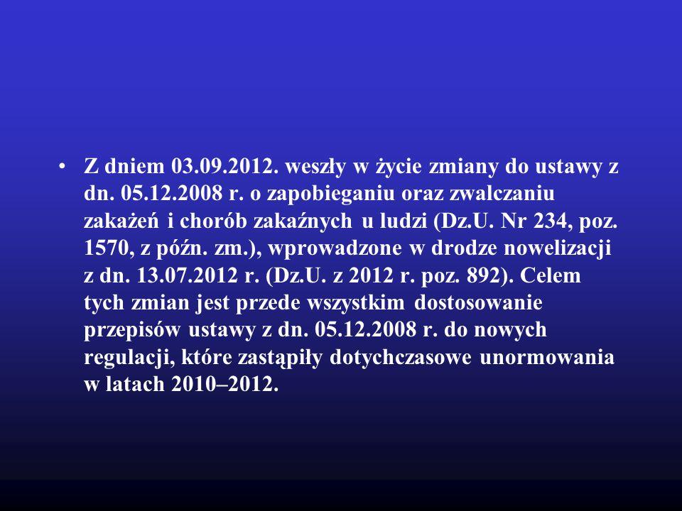 Z dniem 03. 09. 2012. weszły w życie zmiany do ustawy z dn. 05. 12