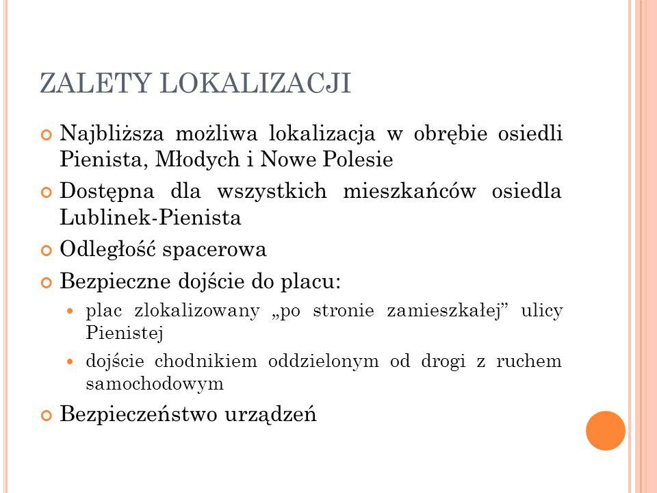 ZALETY LOKALIZACJI Najbliższa możliwa lokalizacja w obrębie osiedli Pienista, Młodych i Nowe Polesie.