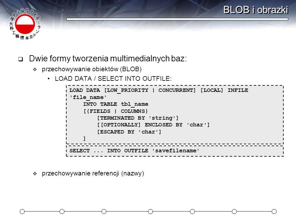 BLOB i obrazki Dwie formy tworzenia multimedialnych baz: