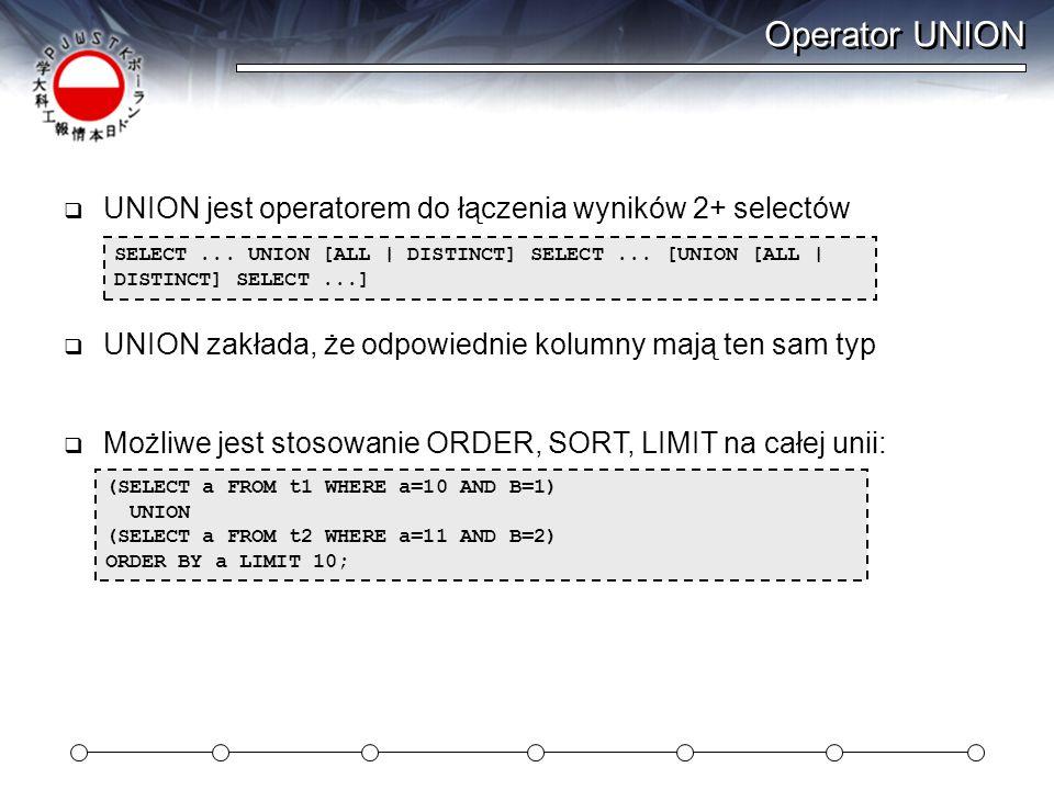 Operator UNION UNION jest operatorem do łączenia wyników 2+ selectów