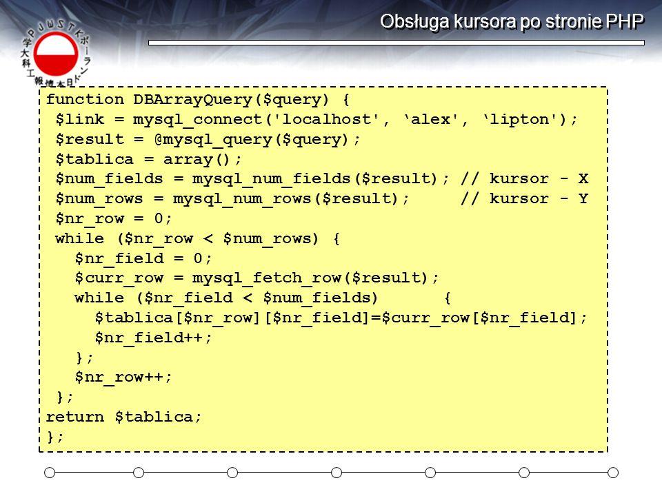 Obsługa kursora po stronie PHP