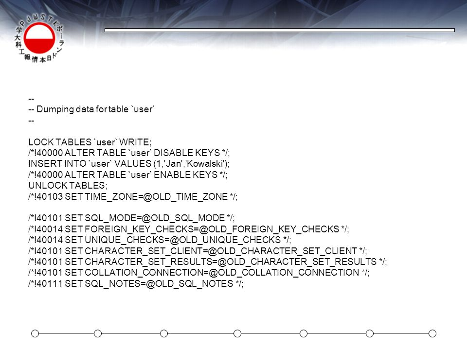 -- -- Dumping data for table `user` LOCK TABLES `user` WRITE; /*!40000 ALTER TABLE `user` DISABLE KEYS */;