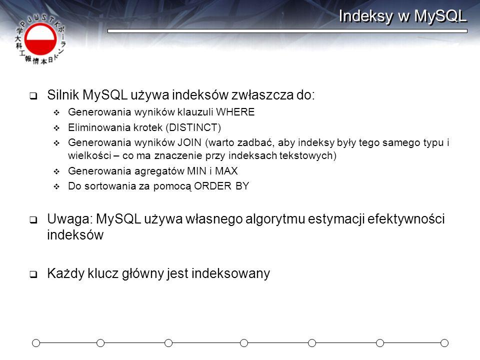 Indeksy w MySQL Silnik MySQL używa indeksów zwłaszcza do: