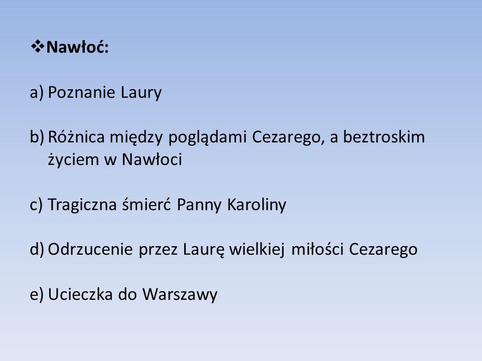 Nawłoć: Poznanie Laury. Różnica między poglądami Cezarego, a beztroskim życiem w Nawłoci. Tragiczna śmierć Panny Karoliny.