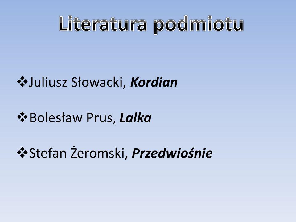 Literatura podmiotu Juliusz Słowacki, Kordian Bolesław Prus, Lalka
