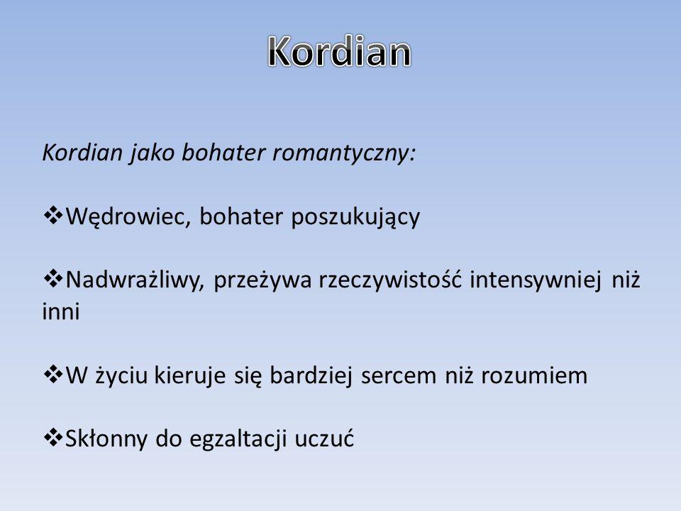 Kordian Kordian jako bohater romantyczny: