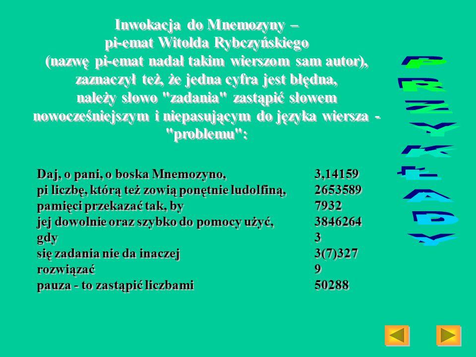 PRZYKŁADY Inwokacja do Mnemozyny –