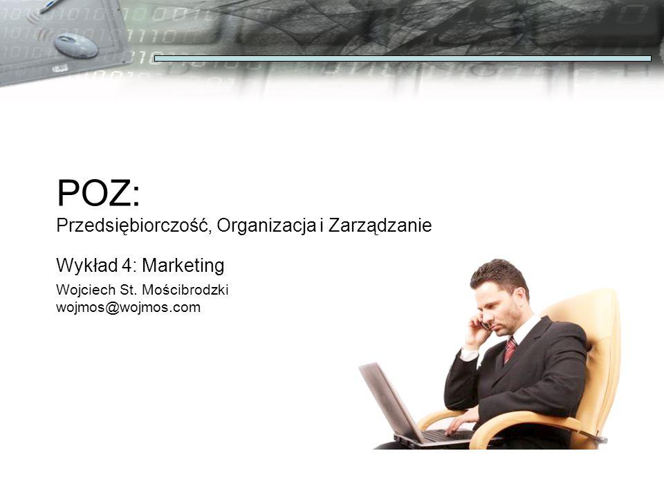 POZ: Przedsiębiorczość, Organizacja i Zarządzanie Wykład 4: Marketing Wojciech St.