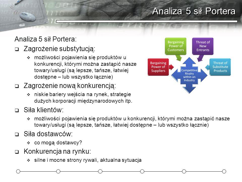 Analiza 5 sił Portera Analiza 5 sił Portera: Zagrożenie substytucją: