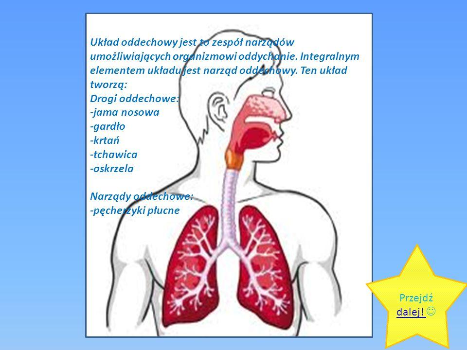 Układ oddechowy jest to zespół narządów umożliwiających organizmowi oddychanie. Integralnym elementem układu jest narząd oddechowy. Ten układ tworzą: Drogi oddechowe: -jama nosowa -gardło -krtań -tchawica -oskrzela Narządy oddechowe: -pęcherzyki płucne