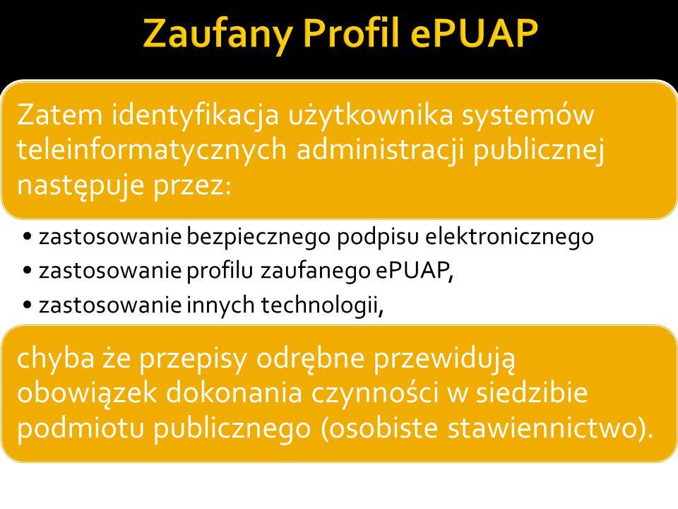 Zaufany Profil ePUAP Zatem identyfikacja użytkownika systemów teleinformatycznych administracji publicznej następuje przez: