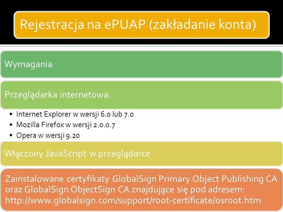 Rejestracja na ePUAP (zakładanie konta)