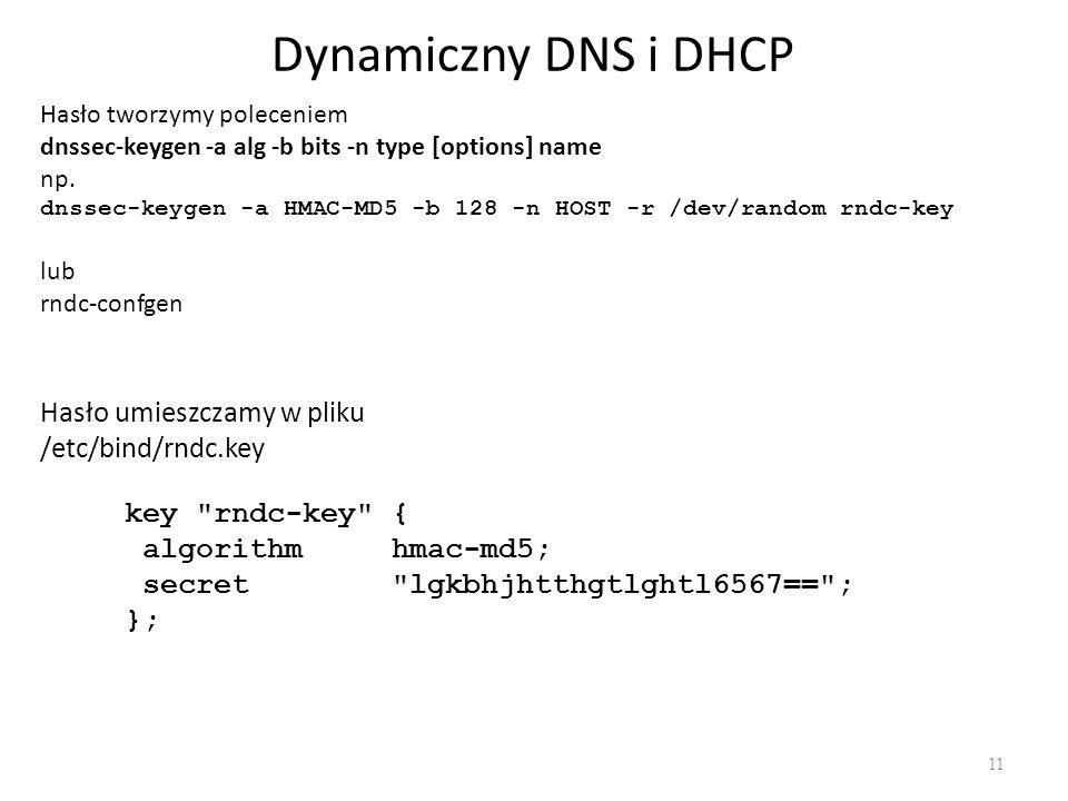 Dynamiczny DNS i DHCP Hasło umieszczamy w pliku /etc/bind/rndc.key