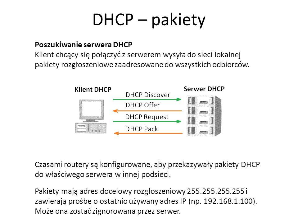 DHCP – pakiety Poszukiwanie serwera DHCP