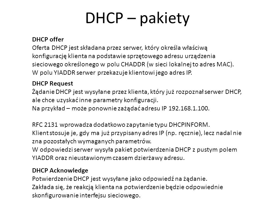 DHCP – pakiety DHCP offer