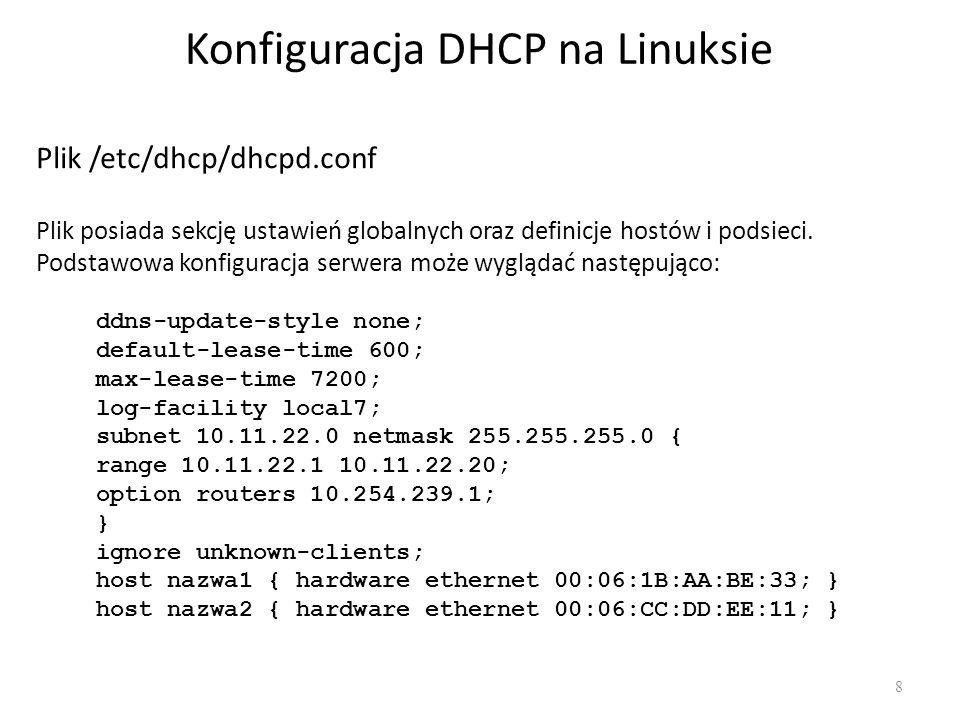Konfiguracja DHCP na Linuksie