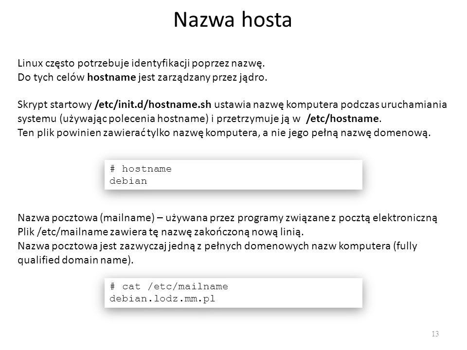 Nazwa hosta Linux często potrzebuje identyfikacji poprzez nazwę.