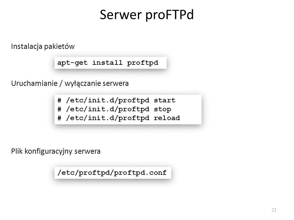 Serwer proFTPd Instalacja pakietów Uruchamianie / wyłączanie serwera
