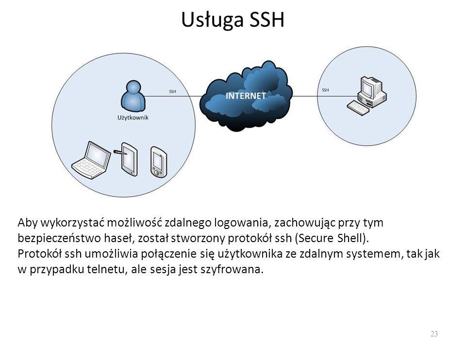 Usługa SSH Aby wykorzystać możliwość zdalnego logowania, zachowując przy tym bezpieczeństwo haseł, został stworzony protokół ssh (Secure Shell).