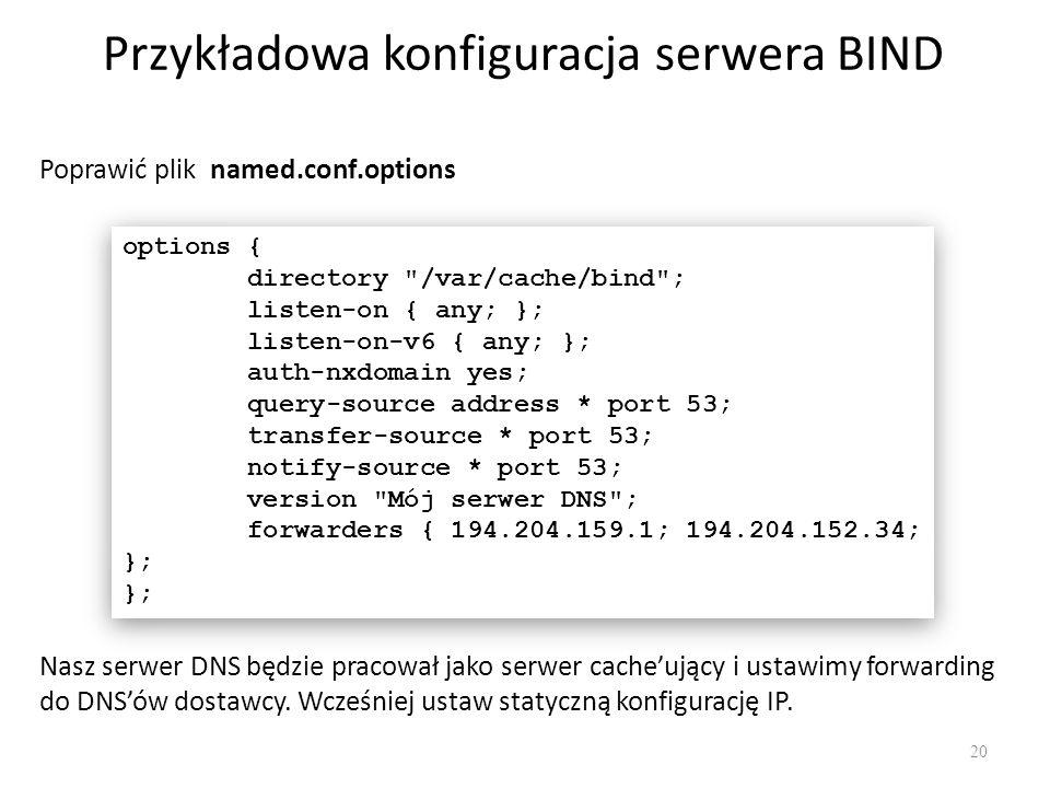 Przykładowa konfiguracja serwera BIND