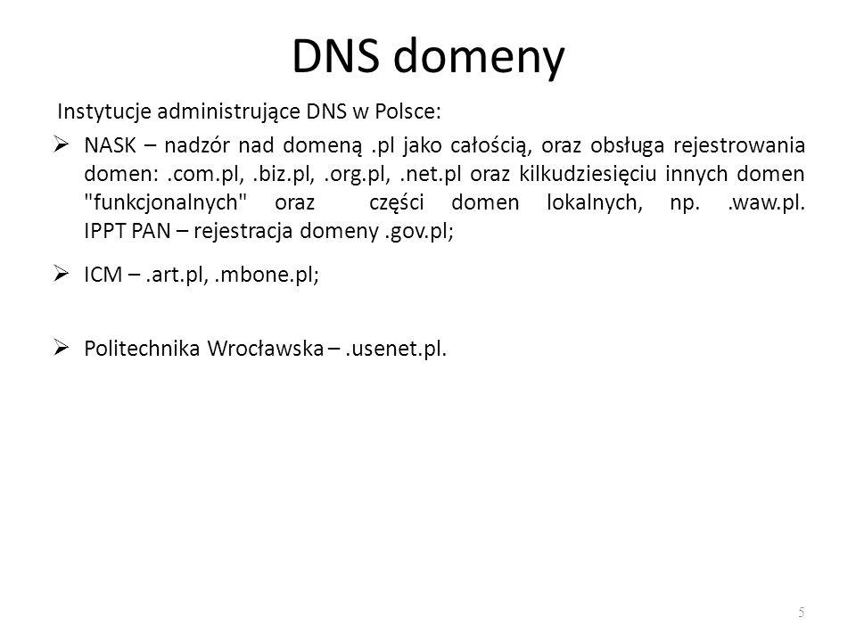 DNS domeny Instytucje administrujące DNS w Polsce: