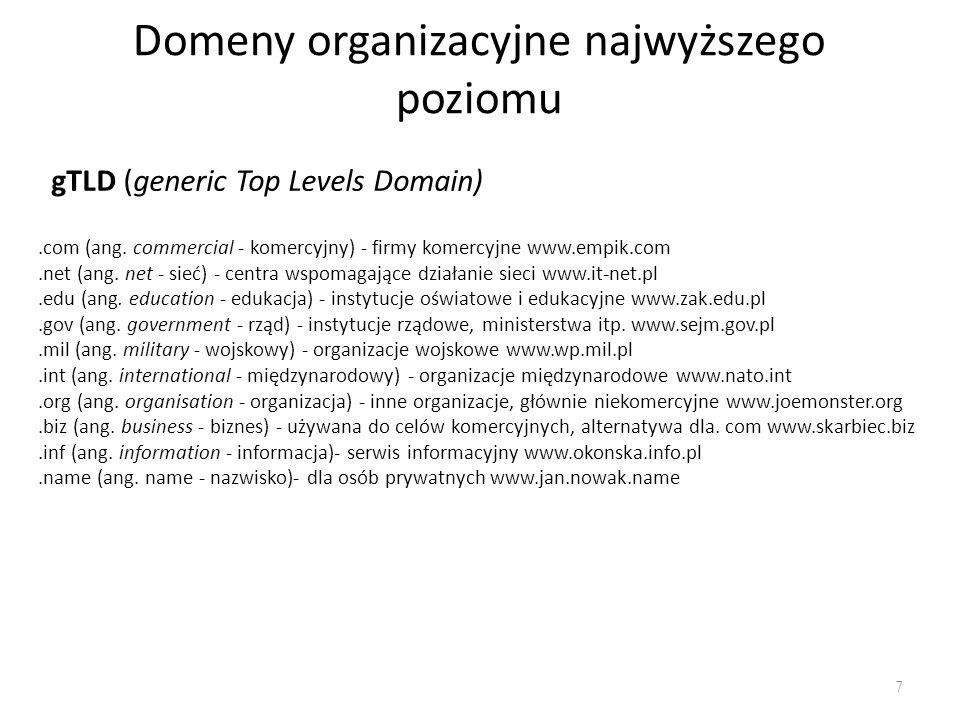 Domeny organizacyjne najwyższego poziomu
