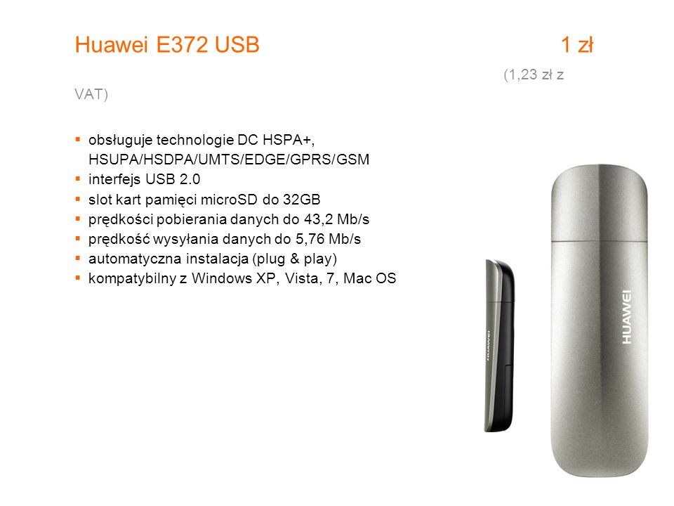 Huawei E372 USB 1 zł (1,23 zł z VAT)