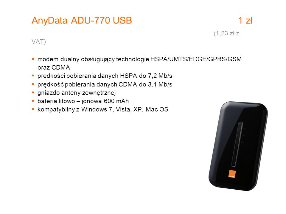 AnyData ADU-770 USB 1 zł (1,23 zł z VAT)