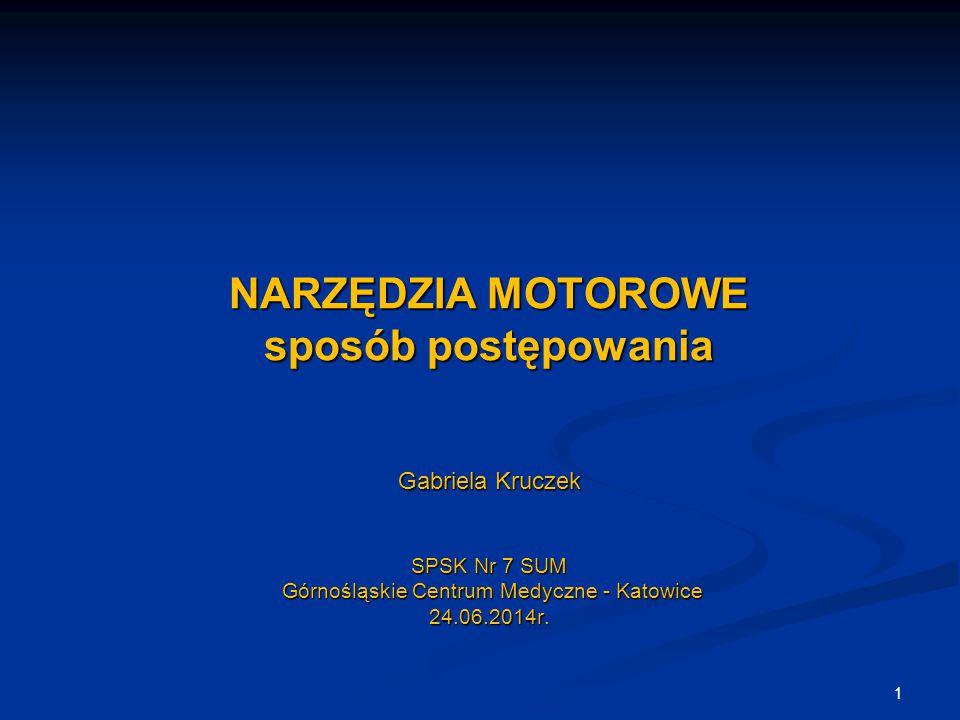 NARZĘDZIA MOTOROWE sposób postępowania Gabriela Kruczek SPSK Nr 7 SUM Górnośląskie Centrum Medyczne - Katowice 24.06.2014r.