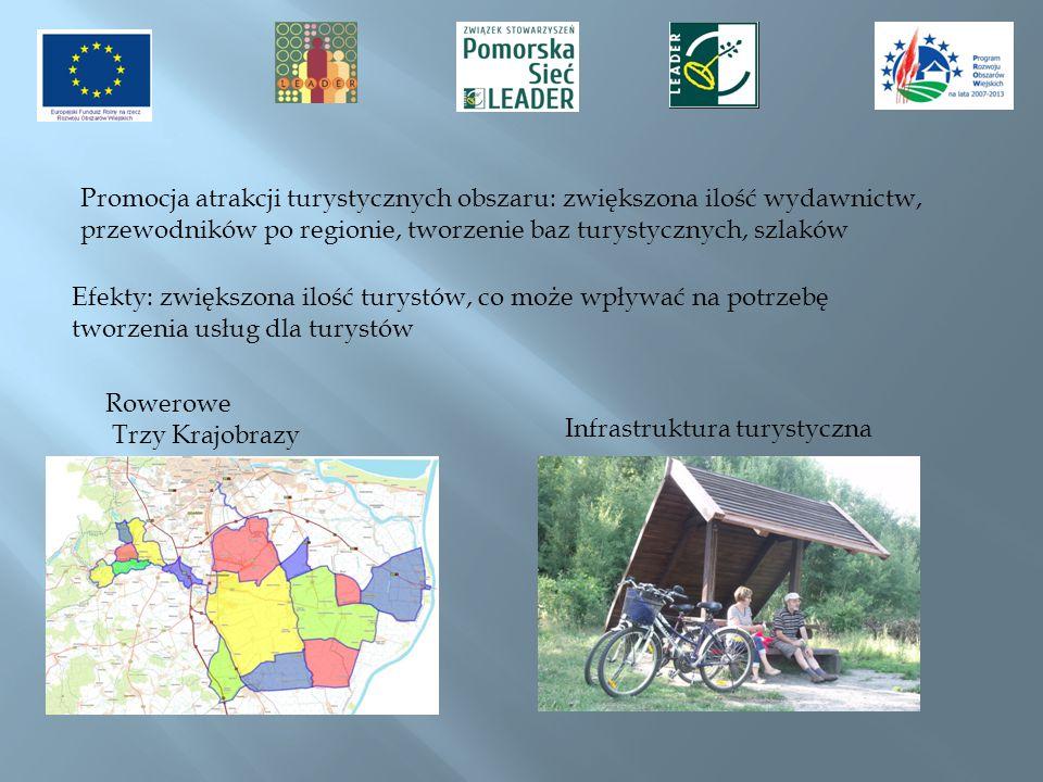 Promocja atrakcji turystycznych obszaru: zwiększona ilość wydawnictw, przewodników po regionie, tworzenie baz turystycznych, szlaków