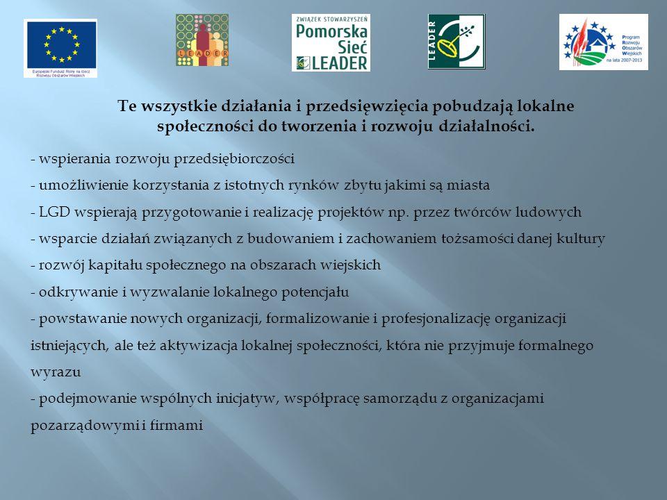 Te wszystkie działania i przedsięwzięcia pobudzają lokalne społeczności do tworzenia i rozwoju działalności.