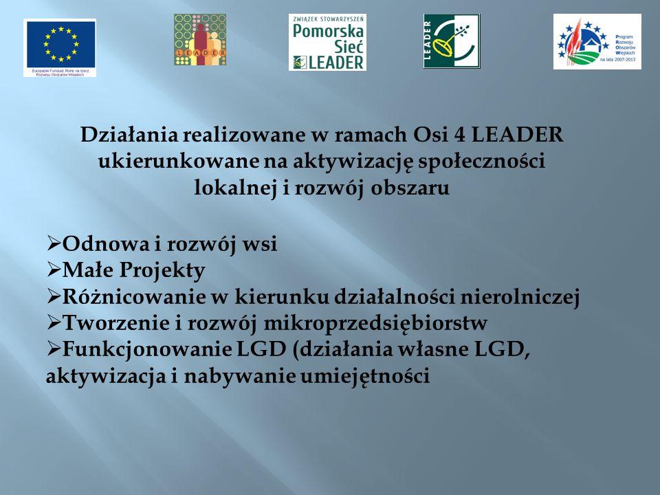 Działania realizowane w ramach Osi 4 LEADER
