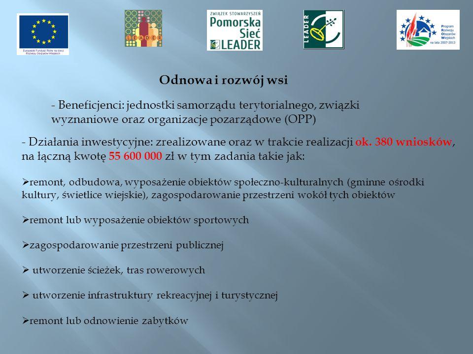 Odnowa i rozwój wsi - Beneficjenci: jednostki samorządu terytorialnego, związki wyznaniowe oraz organizacje pozarządowe (OPP)