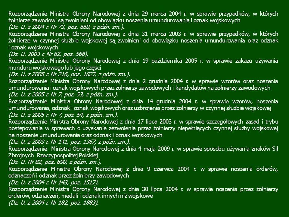 Rozporządzenie Ministra Obrony Narodowej z dnia 29 marca 2004 r