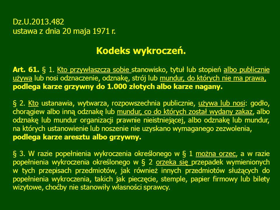 Kodeks wykroczeń. Dz.U.2013.482 ustawa z dnia 20 maja 1971 r.
