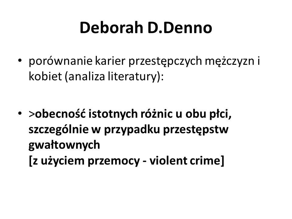 Deborah D.Denno porównanie karier przestępczych mężczyzn i kobiet (analiza literatury):