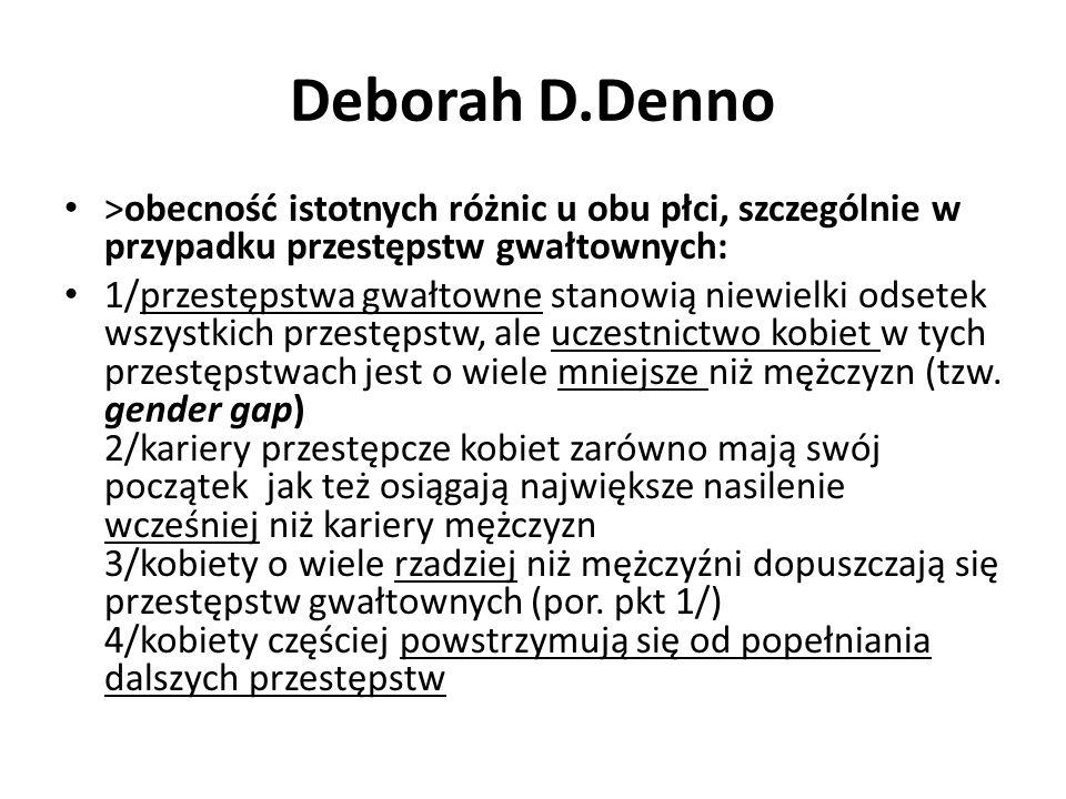 Deborah D.Denno >obecność istotnych różnic u obu płci, szczególnie w przypadku przestępstw gwałtownych: