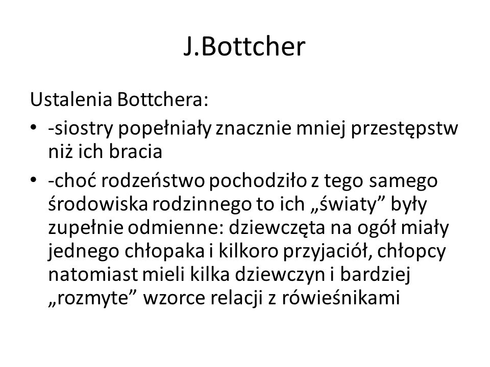J.Bottcher Ustalenia Bottchera: