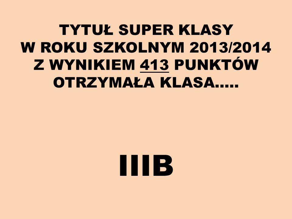 TYTUŁ SUPER KLASY W ROKU SZKOLNYM 2013/2014 Z WYNIKIEM 413 PUNKTÓW OTRZYMAŁA KLASA…..