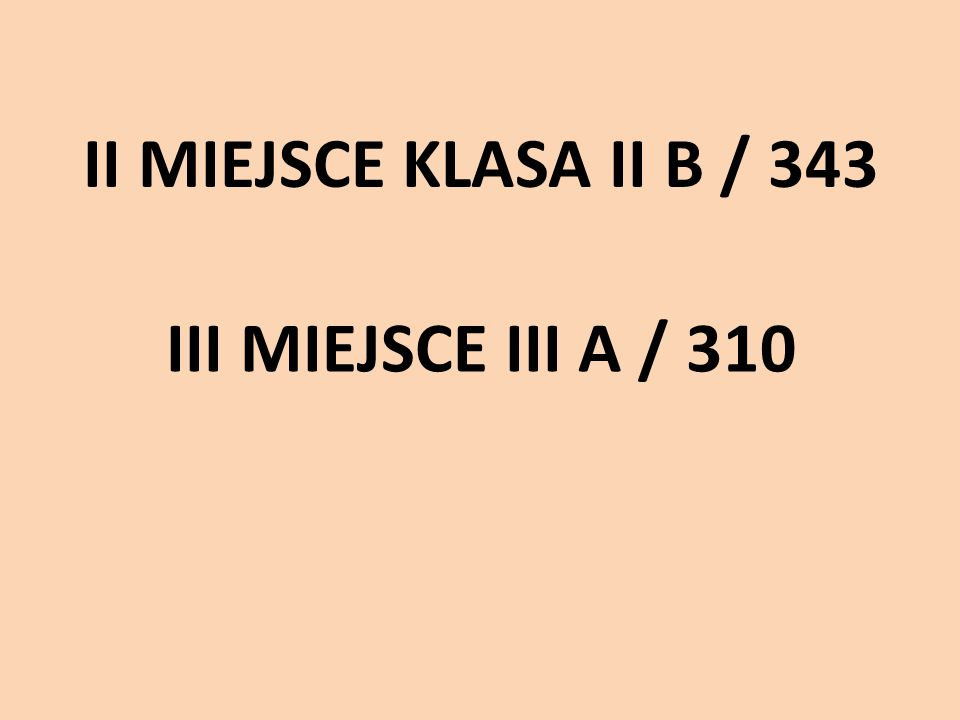 II MIEJSCE KLASA II B / 343 III MIEJSCE III A / 310