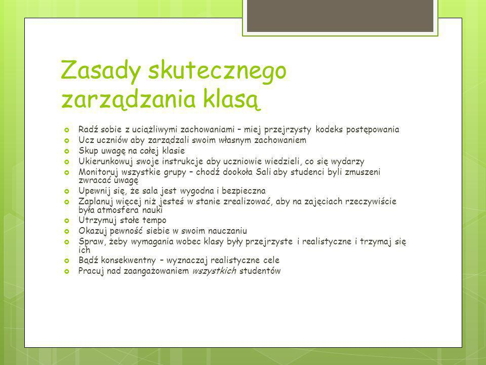 Zasady skutecznego zarządzania klasą